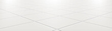 Ceramic Tiles In The Kitchen Or Bathroom On The Floor 3d. Realistic White Square Terracotta. Perspective And Light - Vector Illustration.