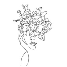 Girl Face Hands With Flowers I...