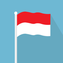 Indonesia Flag Icon- Vector Illustration
