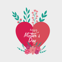Happy Mother Day Card With Hea...