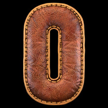 Leather Letter O Uppercase. 3D...