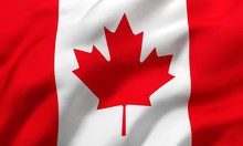 Flag Of Canada Blowing In The Wind. Full Page Canadian Flying Flag. 3D Illustration.