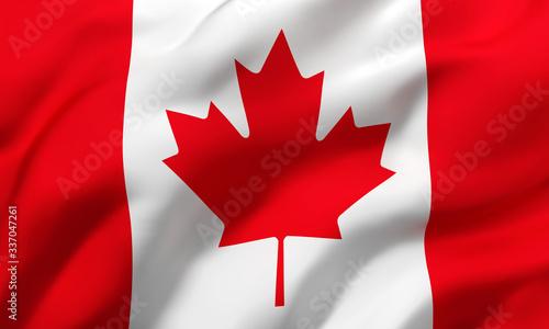 Obraz na płótnie Flag of Canada blowing in the wind