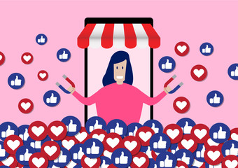 Female Influencer Using Social Media to Attract Blog Viewers For Like and Share For Online Social Media Marketing Concept