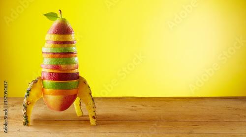 Fototapeta Rocket made of fruits obraz