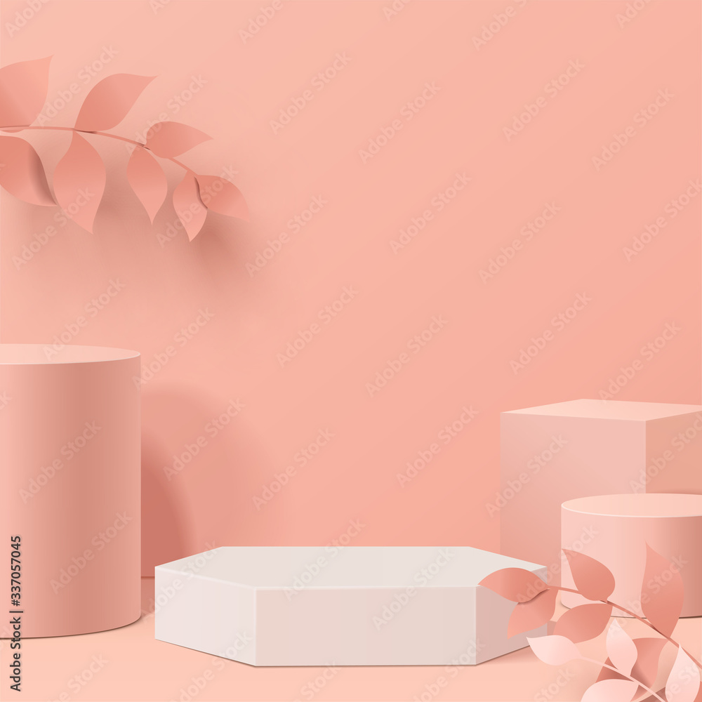 Fototapeta minimal scene with geometrical forms. Cylinder podiums in cream background with leaves. Scene to show cosmetic product, Showcase, shopfront, display case. 3d vector illustration.