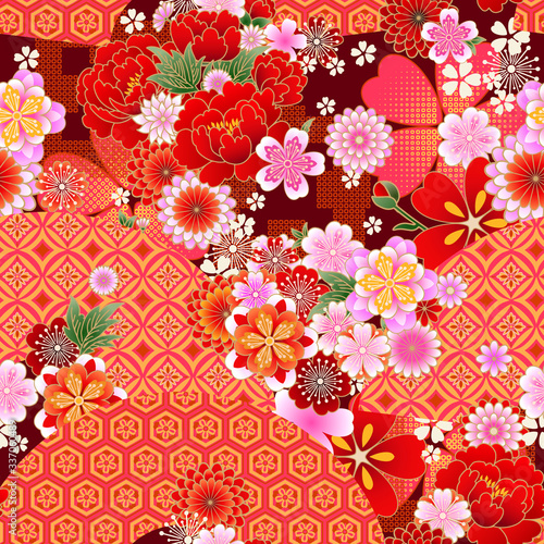 Fotografia Seamless spring japanese pattern with classic floral motif and fans