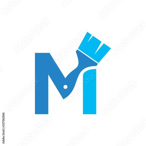 Letter M Paint Brush Logo Design Canvas Print