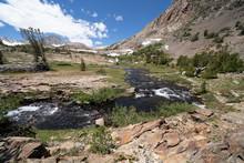 Rushing Creek Along The 20 Lakes Basin Loop Hiking In The Eastern Sierra Mountains In California