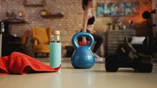 Fitness Training At Home. Youn...