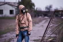 Man In Gas Mask, Khaki Jacket ...