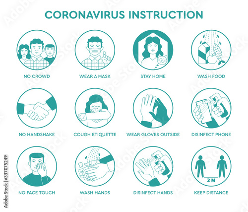 Photo Infographic icons coronavirus  instruction
