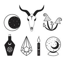 Black Witch Set Moon Star Mush...