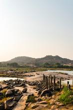 Ancient Bridge In Ruins Over Tungabhadra River