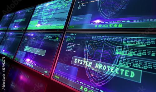 Fotografía Cyber security with shield symbol alert on screen