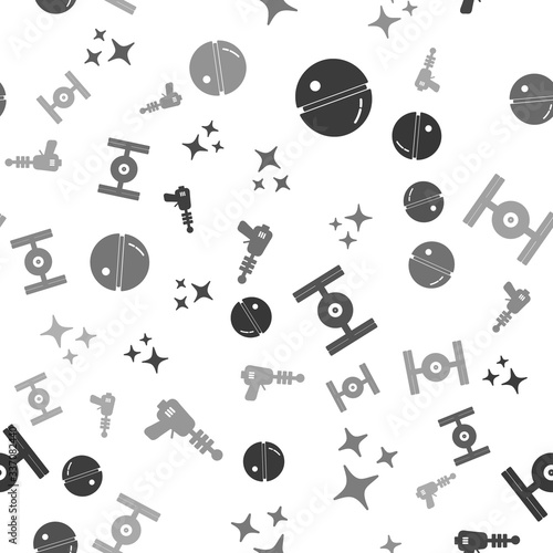 Set Death star, Falling star, Cosmic ship and Ray gun on seamless pattern. Vector