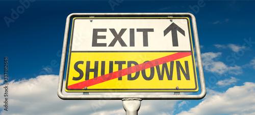 Leinwand Poster Exit-Strategie aus dem Corona-Shutdown