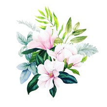 Magnolia And Leaves, Bright Watercolor Bouquet With Fern