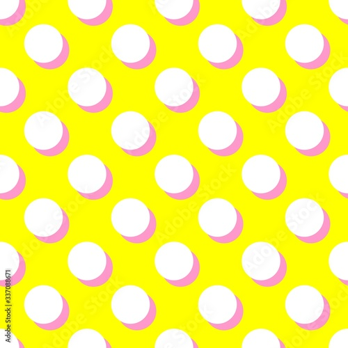 Photo Tile vector pattern with white polka dots and pink shadow on yellow background