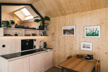 Wooden Tiny House Interior - Modern Kitchen With Smart Tech