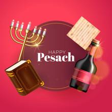 Happy Passover Holiday Greeting Card With Wine Glass, Matzah, Menorah And Torah