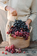 Elderly Hands Holding Basket W...