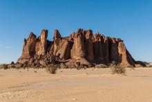 Sandstone Pinnacles In The Sahara Desert, Blue Sky, Chad, Africa