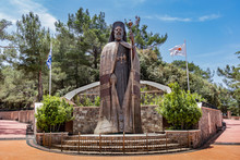 Monumental Bronze Statue Of Makarios The Third, First President Of Cyprus And Archbishop, In Troodos Mountains On The Famous Tur