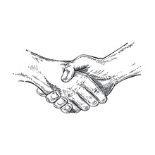 Handshake Symbol In Sketch Style. Hand Gesture Showing Partnership. Businessman Making Handshake Agreement Gesture. Hand Sign On Isolated Background For Poster, Label, Web, Retro Card Design. Vector