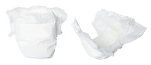 Set Of Baby Diapers On White B...