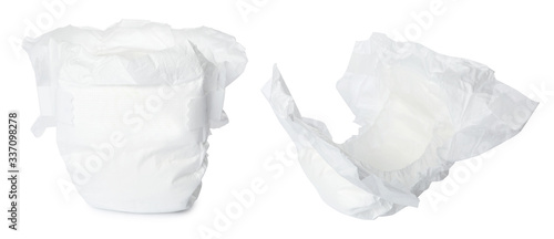 Photo Set of baby diapers on white background