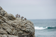 Paisaje Aves, Roca Y Mar