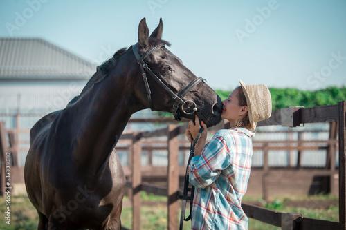 Fototapeta Woman and horse. Close up