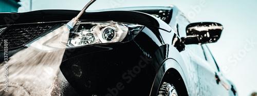 Obraz Car wash business. Detail manual car wash banner. - fototapety do salonu
