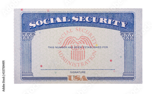 Blank and empty unfilled USA social security card isolated against a white background © steheap