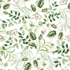 Panel Szklany Liście Forest green leaves, white background. Summer greenery. Vector seamless pattern. Floral design. Nature illustration. Botanical plants print