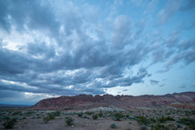 A Cloudy Evening Sky Over Bitter Ridge During Blue Hour After Sunset In Gold Butte National Monument, Clark County, NV, USA
