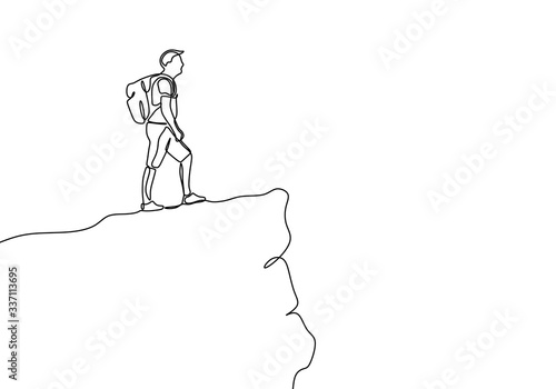 Fototapeta One line drawing of person looking at the top of rock mountain peak.. Victory symbol vector illustration. obraz