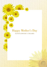 Mother's Day Card, Decorated With Sunflowers And With Space For Text
