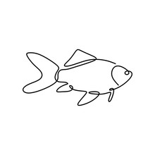 Fish One Line Drawing. Vector Illustration Minimalism Style.