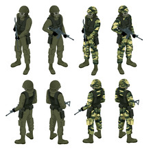 Isometric A Soldier In A Gas M...