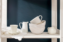 A A Set Of White Dishes: Porce...