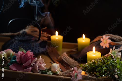 Fototapety, obrazy: Wooden tray with teapot and ornamental objects from oriental culture. Selective focus