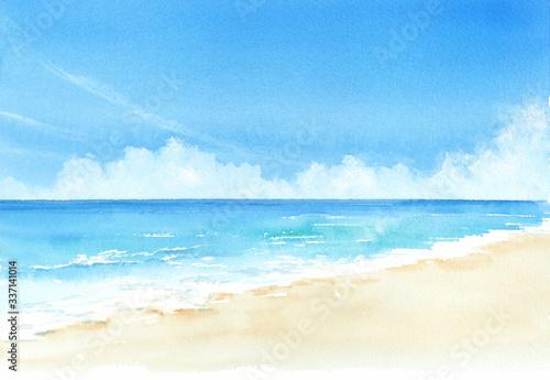 空と海 水彩画 Fototapet