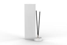 Blank Packaging Incense Stick Paper Box For Branding, 3d Render Illustration.