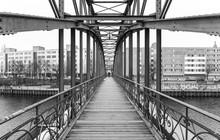 Bridge Against Buildings In City