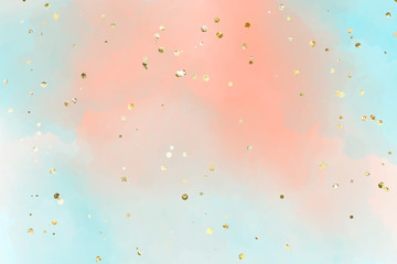 Gentle pastel watercolor background in persian blue, Smooth transitions of colors. For the design of invitations, cards, banners with golden sparkles.
