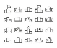 Simple Set Of Podium Icons In Trendy Line Style.