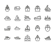 Ship Line Icons Set.