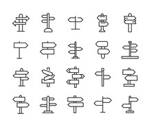 Simple Set Of Sign Post Icons ...